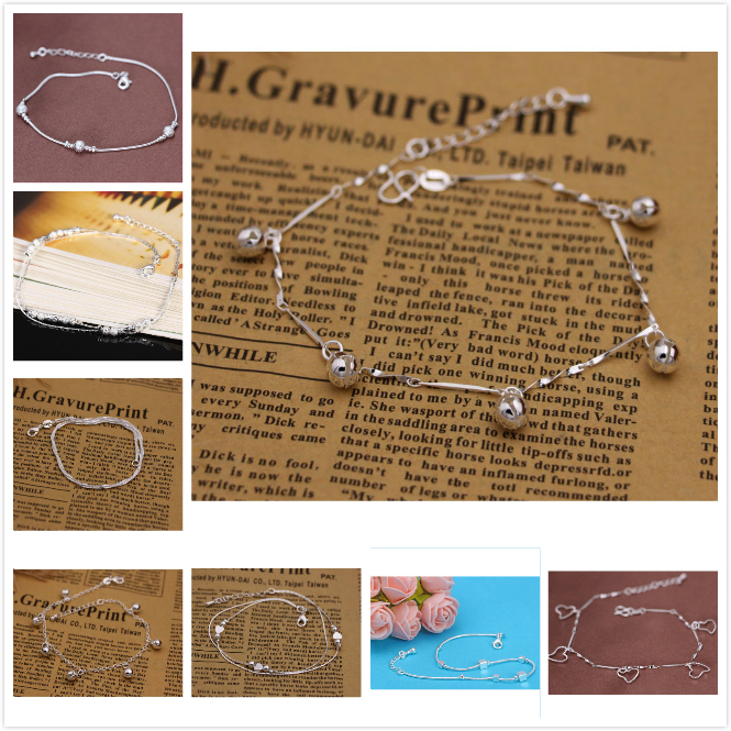 S925 Silver Anklet female Korean students contracted bell China Sen retro wind fresh all match