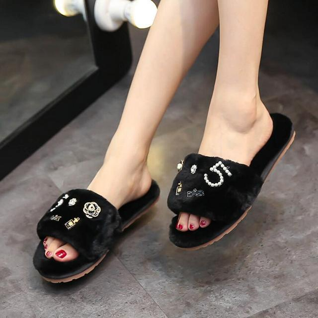 efcf1c447e5c80 XXX perfume flower fur slippers women plush flip flops camellia pearl  beading fur sandals women pantufas cozy home slides XXX