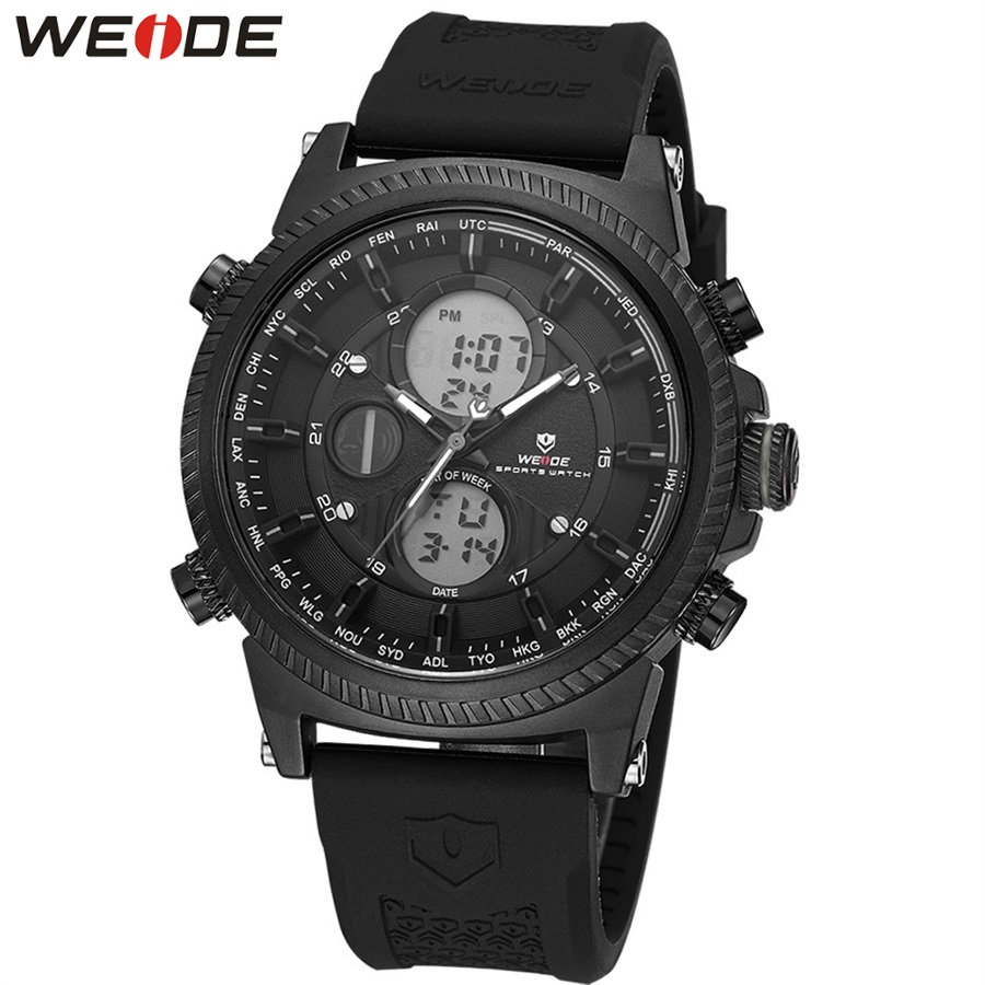 WEIDE Sport Men Digital Auto Date Classic Black Quartz Watches Stopwatch Backlight LCD Alarm Silicone Band Military Wristwatch weide men black running outdoor date day repeater back light stopwatch sports quartz watch alarm clock strap military wristwatch