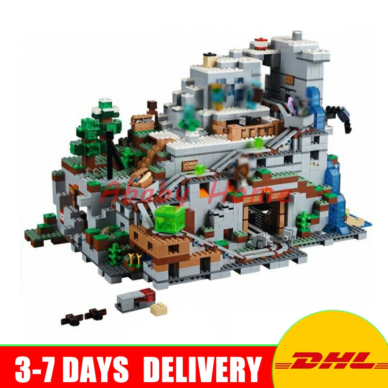 DHL LEPIN 18032 2932 PCS The Mountain Cave My worlds Model Building Kit Blocks Bricks Children Toys Clone21137 In Stock dhl new lepin 06039 1351pcs ninja samurai x desert cave chaos nya lloyd pythor building bricks blocks toys compatible 70596