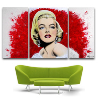 Canvas Painting New 3 Pieces Sets Canvas Art Red Marilyn Monroe Canvas Wall Art Painting Decoration