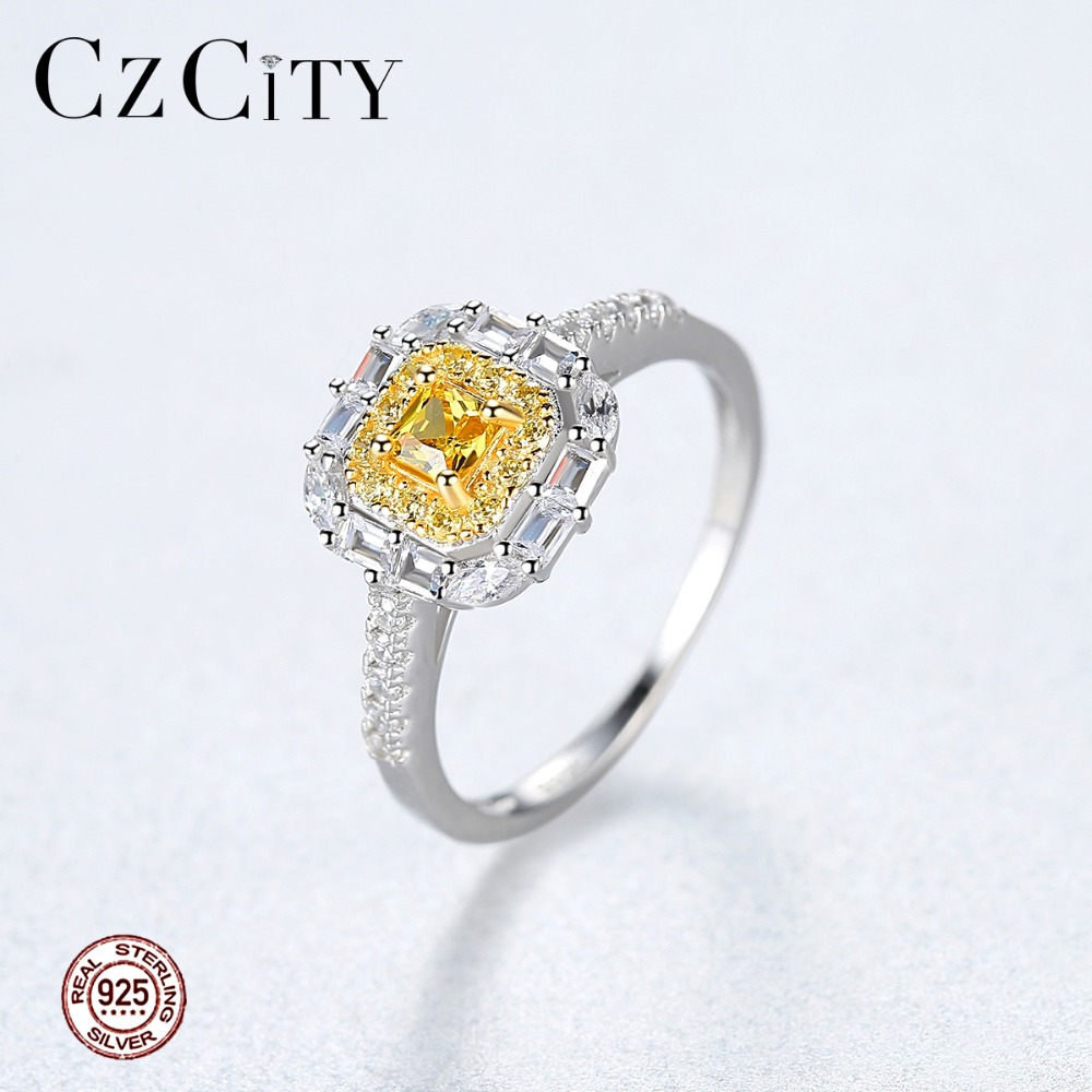 CZCITY Luxury 925 Sterling Silver Yellow Birthstone Brilliant Engagement Rings For Women Sparkling Fashion Bridals Rings Jewelry