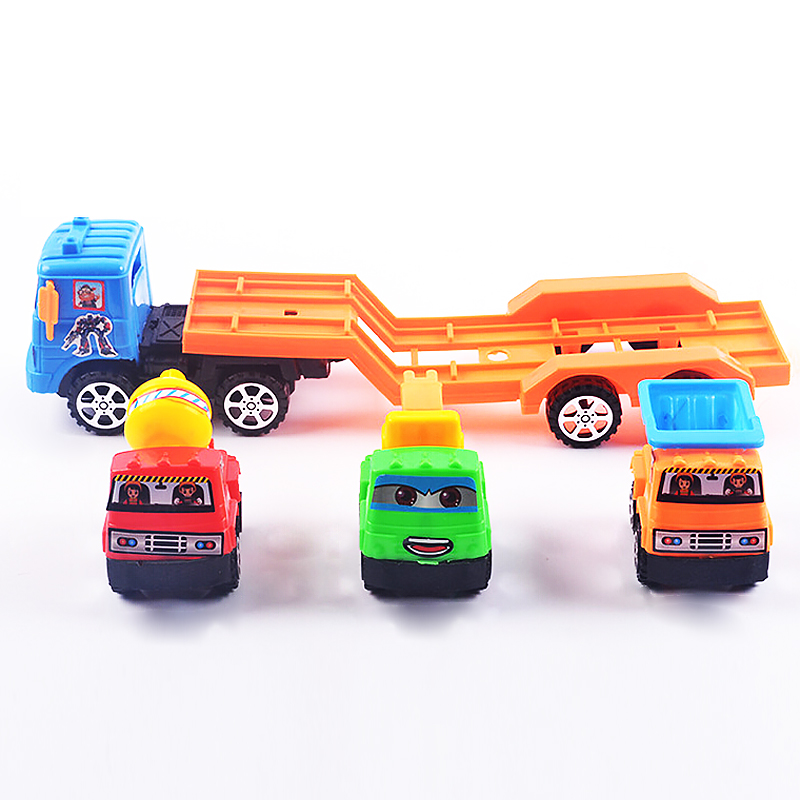Kid Game Toys Engineering Trailer 1 package / 4 Cars Children\'s Toys ...