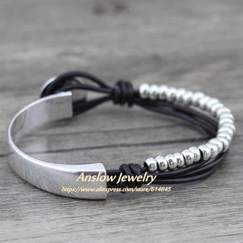 Anslow New Design Modeschmuck Echtes Leder Wrap Vintage Retro Perlen - Modeschmuck - Foto 3