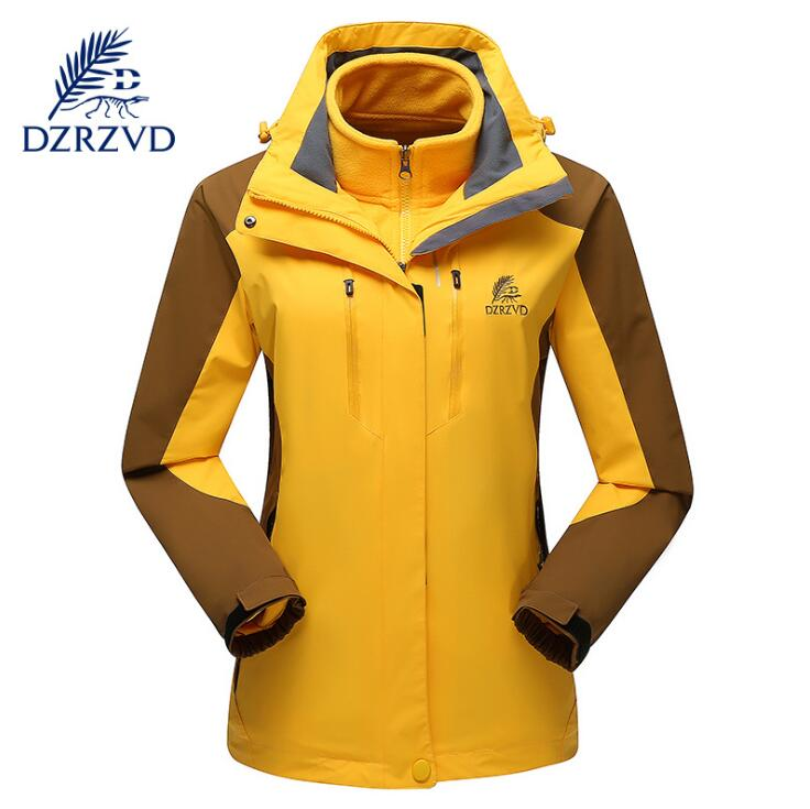 DZRZVD Outdoor Sports Winter Waterproof Ski Hiking Jacket Women Two-Piece Fleece Warm Windproof Hooded windbreaker Coats