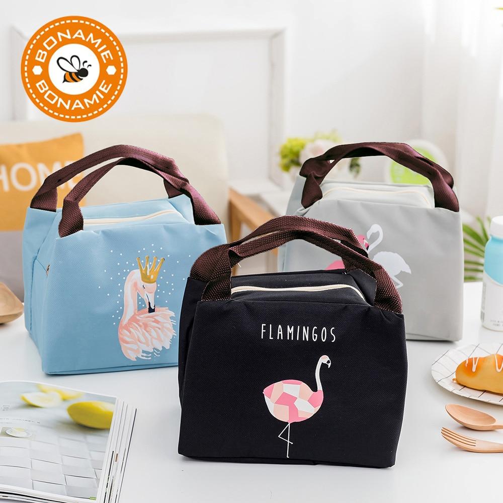 BONAMIE Hot Animal Flamingo Lunch Bag Girl Portable Insulated Thermal Food Picnic Lunch Bags Women Kids Men Cooler Lunch Box Bag