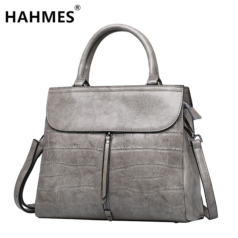 HAHMES 100% Genuine Leather Crocodile pattern design Women's handbag female High capacity cow leather shoulder bag 30cm 10756# hahmes 100