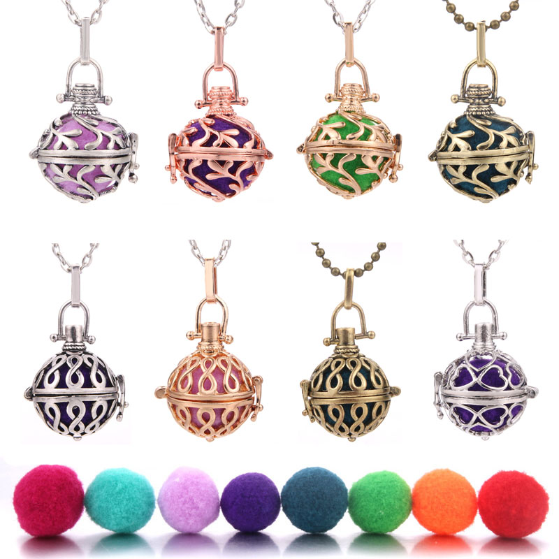 Round Aroma Open Antique Vintage Locket Pendant Perfume Essential Oil Aromatherapy Diffuser Necklace With ball