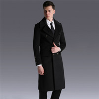 Autumn Wool Coat Men Jacket 2018 New Winter Thicken Warm coats Double breasted belt Large size Men Business Outerwear Top NO514
