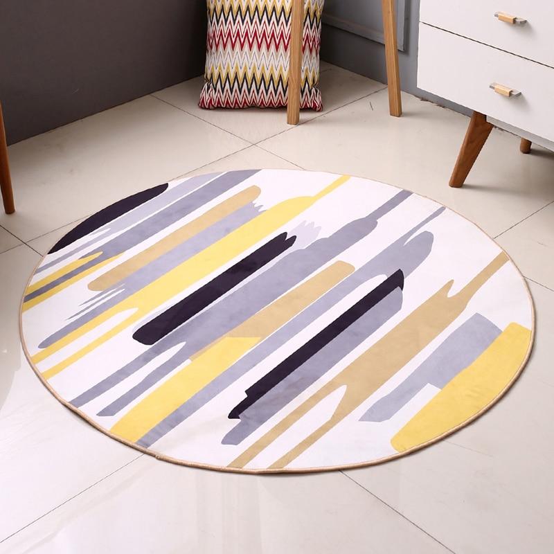 EHOMEBUY Round Carpet Yellow Grey Striped Modern Carpet Anti Slip Mats Living Room Geometric Rug Floor Protection Home Decor