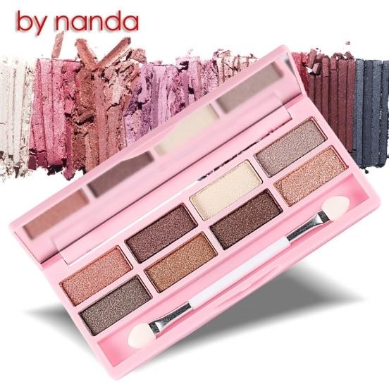 By Nanda Professional Eyes Makeup Pigment Eyeshadow 8 Colors Eye Shadow Palette Beauty with bursh