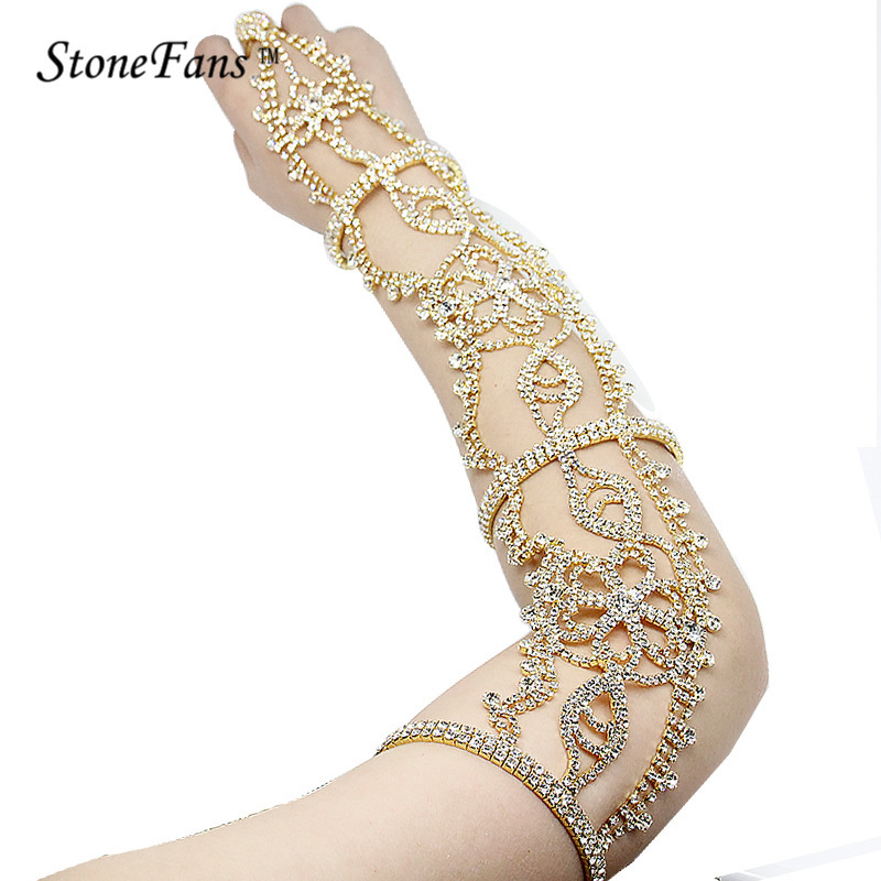 Stone Fans Rhinestone Upper Cuff Armband Armlet Bracelets Chain For Bridal Long Bracelets Crystal Wedding Bracelets Bangles Women by Stone Fans