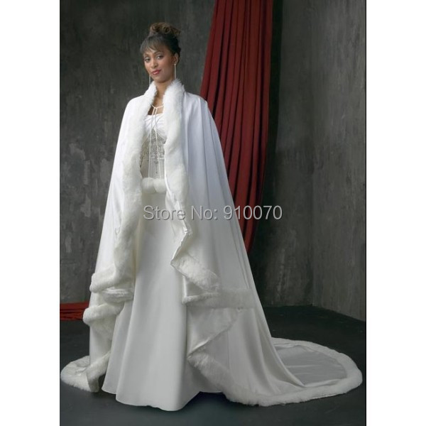 2017 Custom Made White Winter Gorgeous Hooded Faux Fur Wedding Dresses For Bridal Cape Wrap Accessories Bw17 In Jackets From Weddings