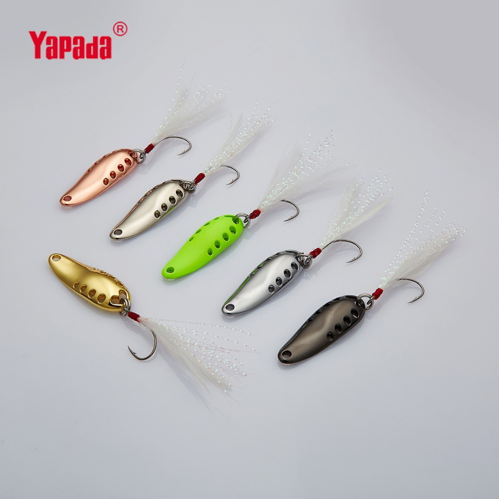 YAPADA Spoon 015 Gossip 2.5g/3.5g/5g Multicolor Single Hook+Feather 30-33-37mm 6piece/lot  Metal Spoon Fishing Lures обучающие плакаты алфея плакат мебель