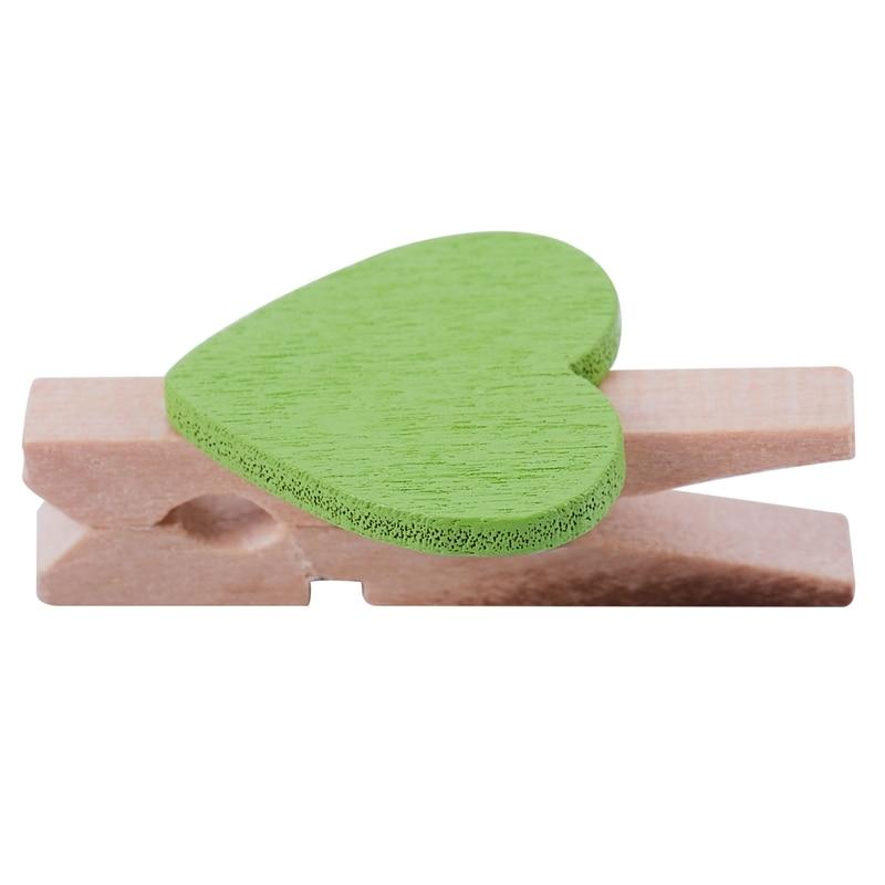 Mini Love Heart Shape Wooden Clips Message Photo Holder Album Card Paper Pegs Decor Photography - Green 20 Pcs