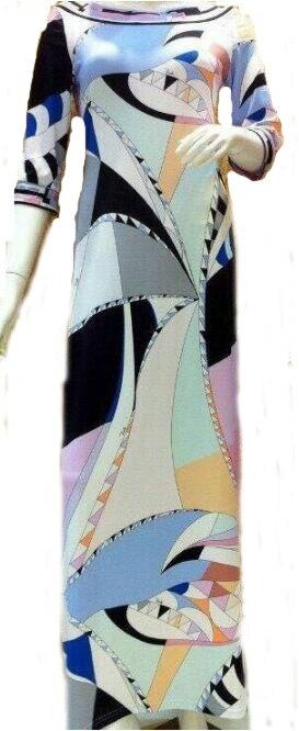 Gaine Longue Luxe Géométrique Maxi Italien Imprimé Femmes Long Robe Designer Marques Manches Soie Jersey De Quarts Trois aqqZUdB