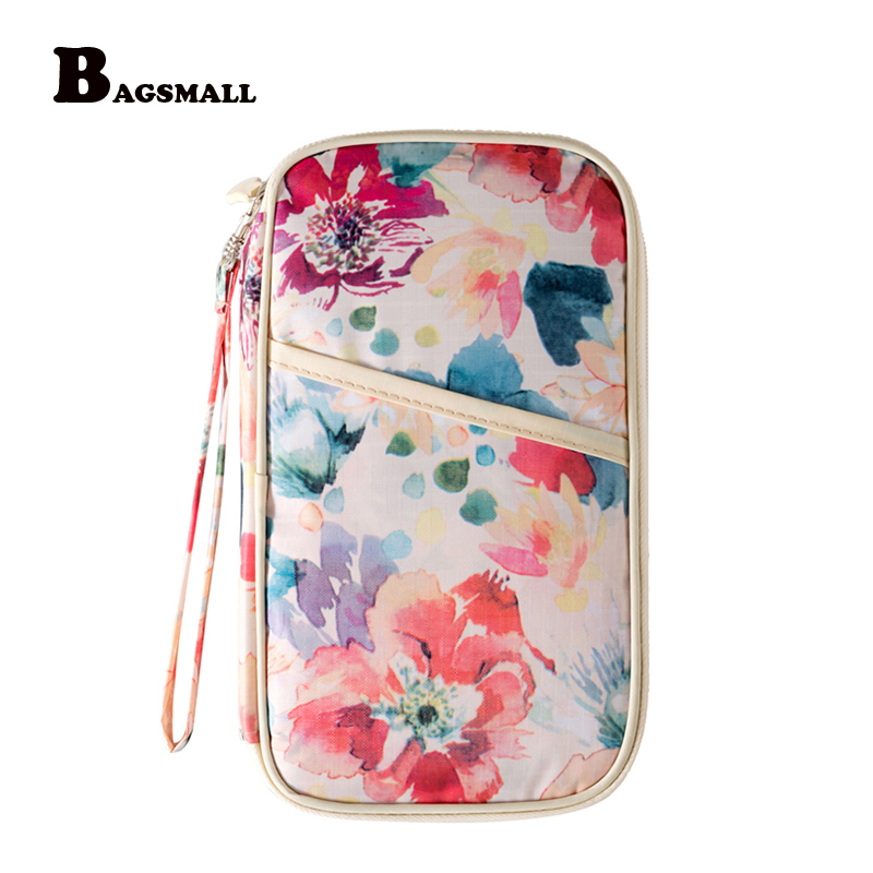 BAGSMALL Flower Printing Travel Passport Wallet for Cards and Driver License Passport Cover Travel Clutch Bag
