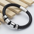 Top Brand Luxury Genuine Leather Men'sBracelets, Fashion Knight Courage Bracelets Stainless Steel Charm Vintage Bracelets .
