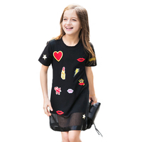 New Fashion Big Girls Korean Style Dress Junior Children Cartoon Sundress Girl Costume With Lovely Appliques