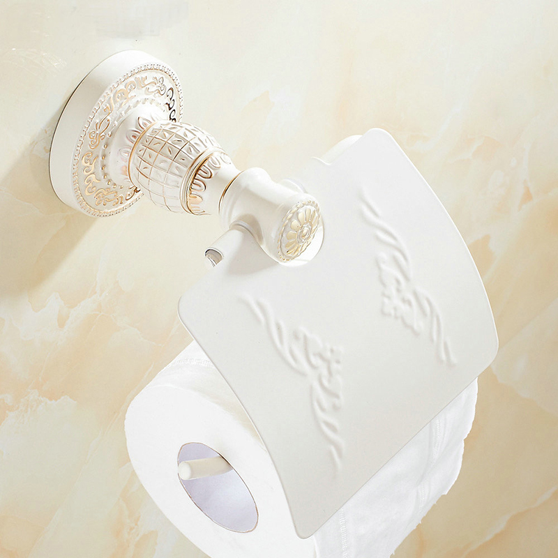 Vidric antique bronze suspension carved paper towel rack Europe white bathroom paper holder toilet paper box toilet Accessores