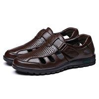 HEBA Genuine Leather Men Sandals Shoes Fretwork Breathable Fisherman Shoes Style Retro Gladiator Soft Bottom summer Classics m