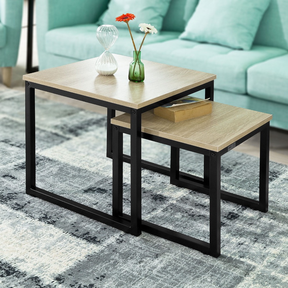 SoBuy FBT42-N Tables Basses Gigognes - Set de 2 - Lot de 2 Tables d'appoint empilables table basse de salon