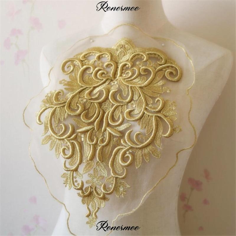 1Pc Super Quality Thick Gold Venise Lace Trim Wedding Sewing Applique Crafts Lace Fabric For Wedding Dress Decoration 38.5X30cm