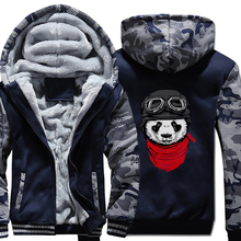 Newest 2019 men's fashion thicken jackets funny panda printed pilot hooded hoodies Harajuku hip hop brand clothes Hipster coats худи print bar panda pilot