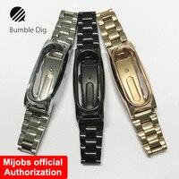 Mi Wristband Metal For Xiaomi Mi Band 2 Screwless Stainless Steel Wrist Strap Bracelet Smart Band
