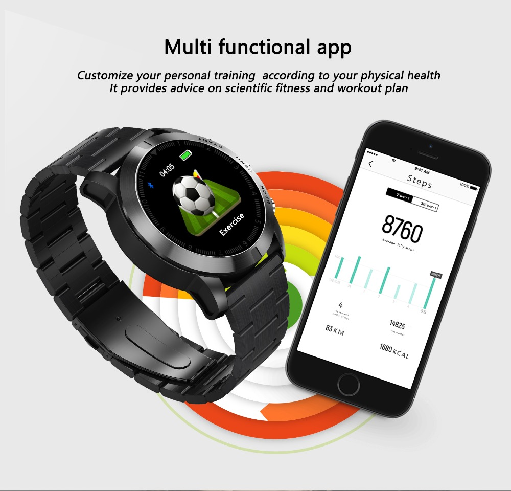 -9 Montre intelligente IP68 étanche Bluetooth 4.2