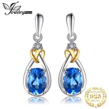 Love Knot 1.9ct Natural Blue Topaz Earrings Dangle Gemstone Inlay Diamond Solid 925 Sterling Silver 18K Yellow Gold Fine Jewelry