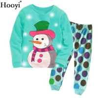 Turquoise Blue Baby Girls Pajamas Clothes Suits Christmas Gift For Children Clothing Sets Cotton Pijamas Snowman Sleepwear Dot