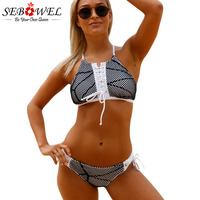 SEBOWEL Sexy Fishnet Mesh Patchwork Black White Swimsuit Women Two Piece Set Swimwear Lace Up Top