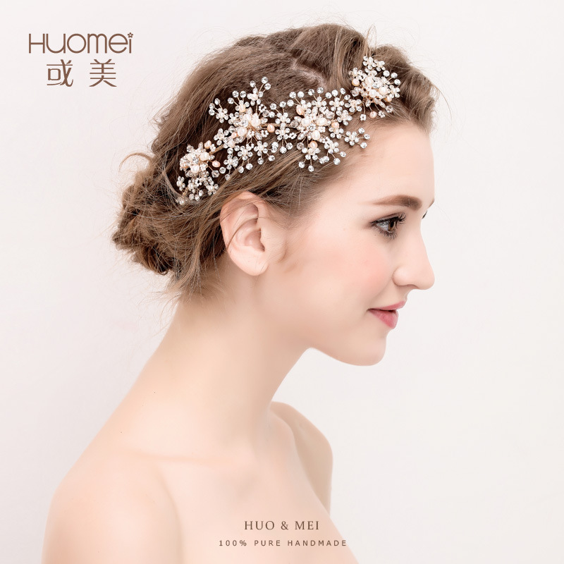 D2130 or beautiful pearl exquisite headdress bride hair band simple hair headdress flower new factory wholesale fascinator fashion bride headdress feathers dance show headdress covered the face veil party hat headdress hairpin headwear