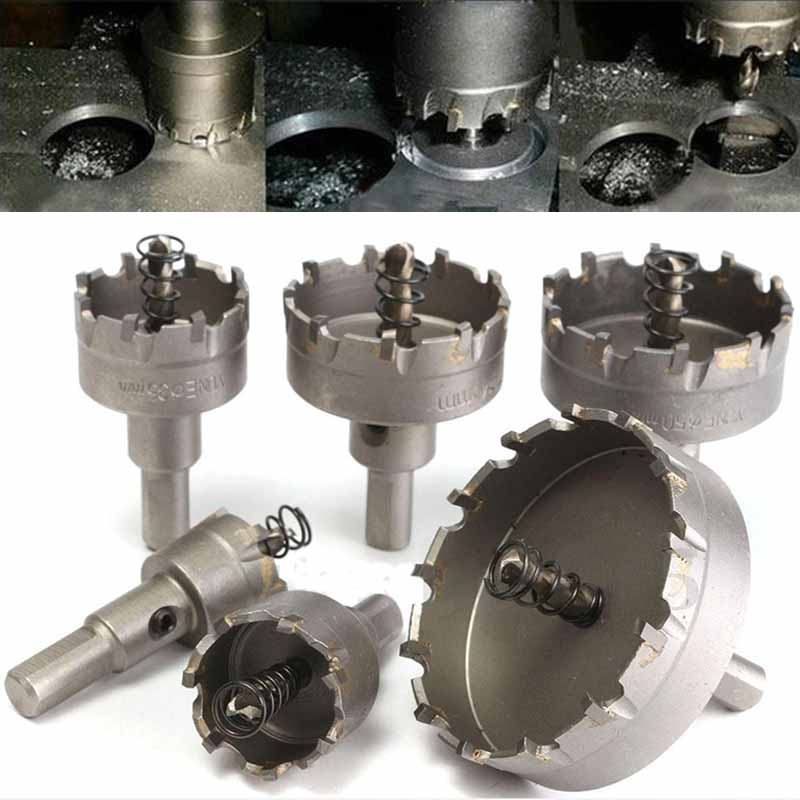 6Pcs/set Carbide Tipped TCT Drill Bit Set Stainless Steel Alloy Hole Saw Cutter Tool 22mm/30mm/35mm/45mm/50mm/65mm