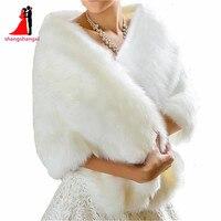 2017 Brautverpackungen Bolero Faux Pelz Für Hochzeit Abendgesellschaft Prom Jacke Mantel Winter Weißes Fell Schal Coprispalle Hochzeit Elfenbein