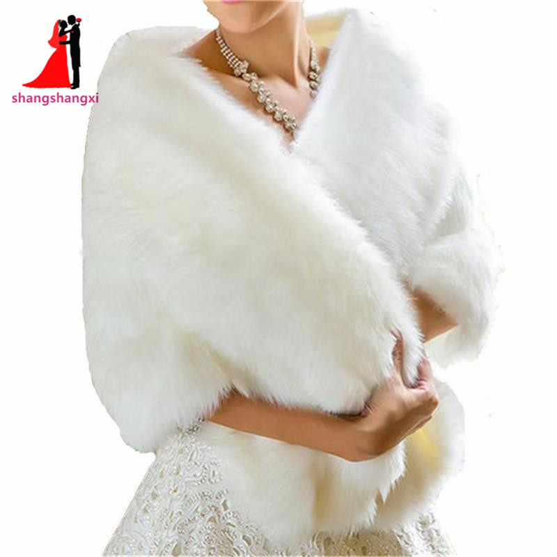 2017 Bridal Wraps Bolero Faux Fur For Wedding Evening
