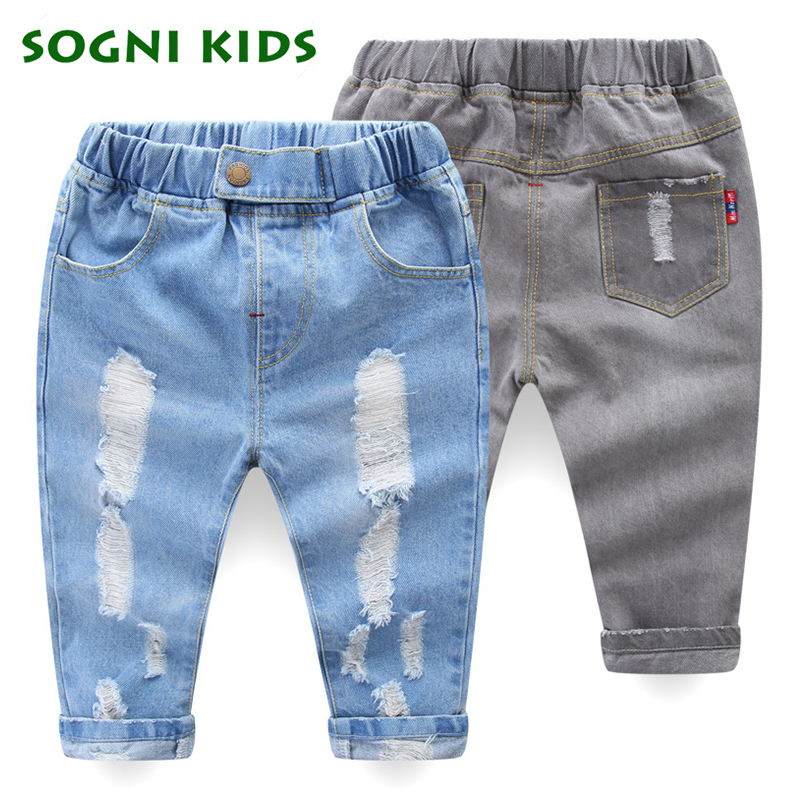 Baby Girls Boys Jeans 2018 Spring Autumn Long Demin Broken Holes Ripped Pants Children Cotton Trouser For Fashion Kids Clothes