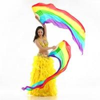 1 par Nueva Danza Del Vientre Velos De Seda Del Ventilador De Bambú costillas colorantes hechos a mano Los Fans de Baile caliente-venta de 180X90 cm Mujeres de Seda de la Danza Del Vientre ventiladores
