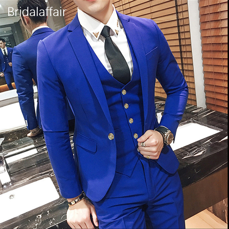 Bridalaffair KUSON Royal Blue Men Suit 3Pcs 2018 Formal Prom Jacket Pants Vest