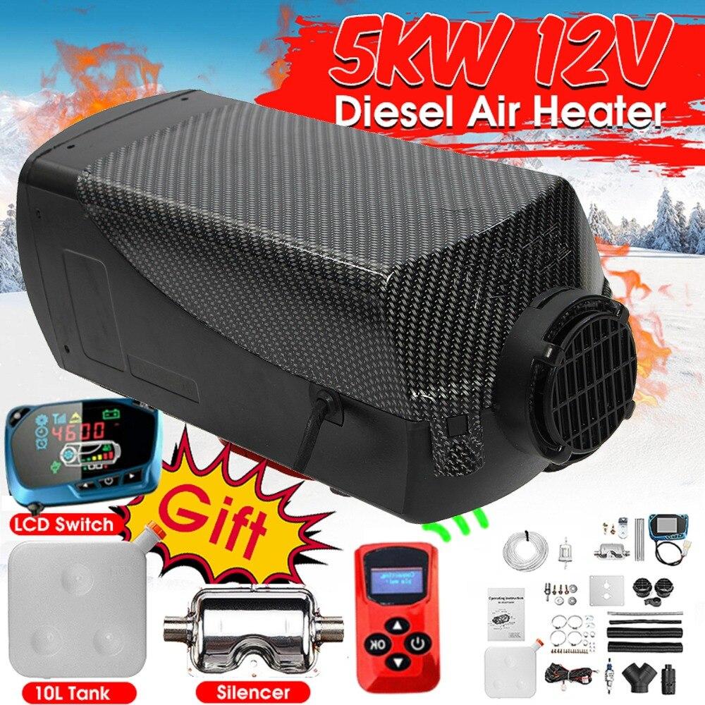 5000 W Aria diesel Riscaldatore 5KW 12 V Singal Foro Riscaldamento Dell'automobile Per I Camion Motore-Casa Barche Bus + LCD Interruttore A chiave + Silenziatore + Telecomando