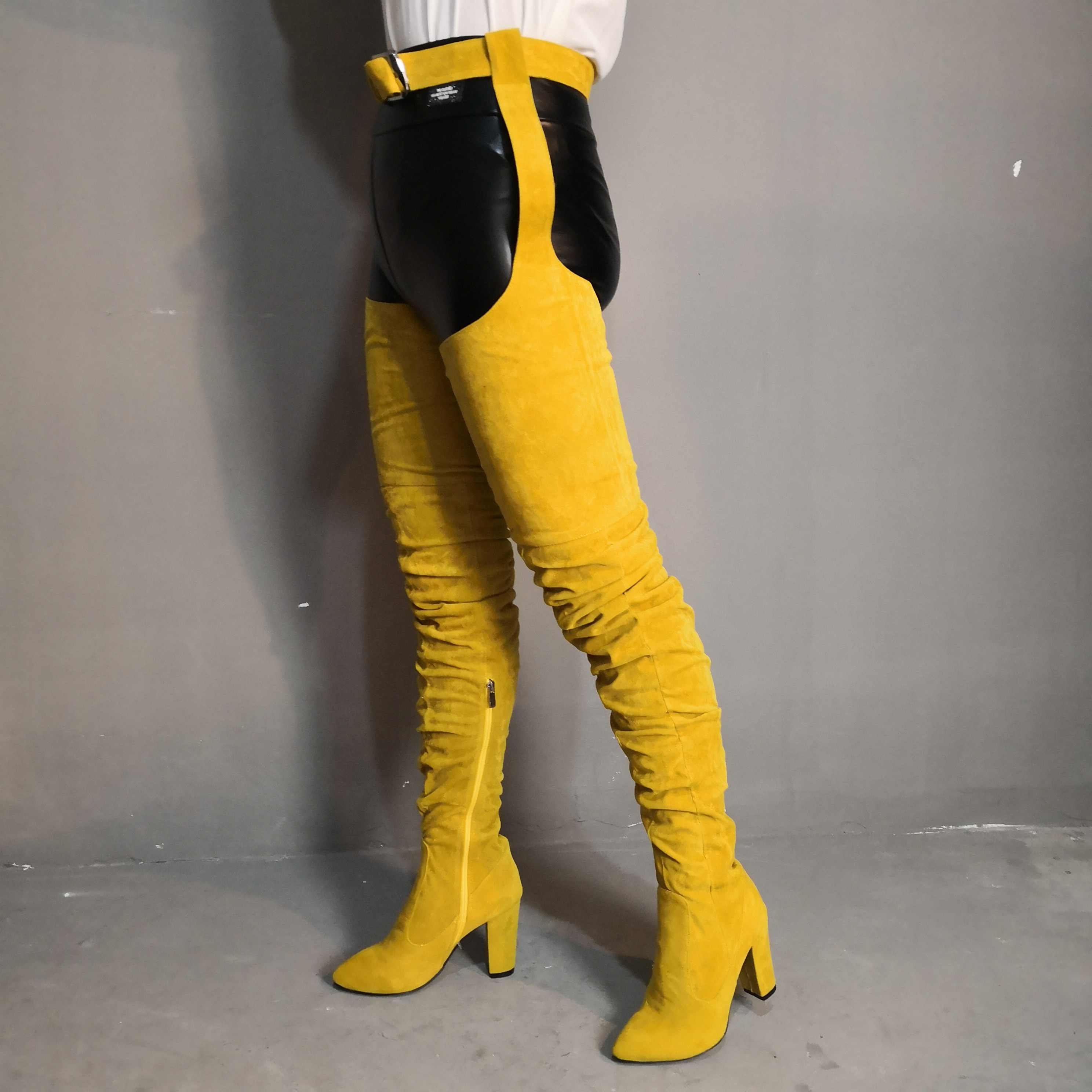 Chaussures femme sexy jaune bout pointu cuisse haute sur le genou bottes talons hauts entrejambe attaché taille pantalon botines chaussures femme