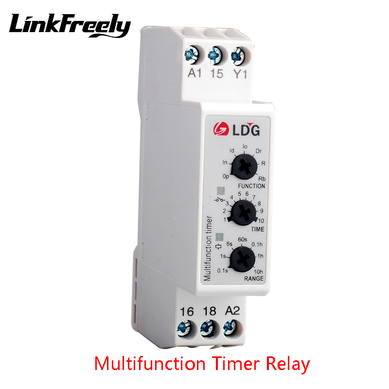 DMB51CM24 Multifunction Timer Relay Module 220V 5A Output:24VDC 250VAC Input: 24-240V 7 Knob Function Time Relay Switch Din 2pcs цена