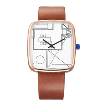 New Arrival Creative Watch Unique Geometric Dial Design Quartz Wrist Watches Square Case Women's Watches Leather Strap Gifts