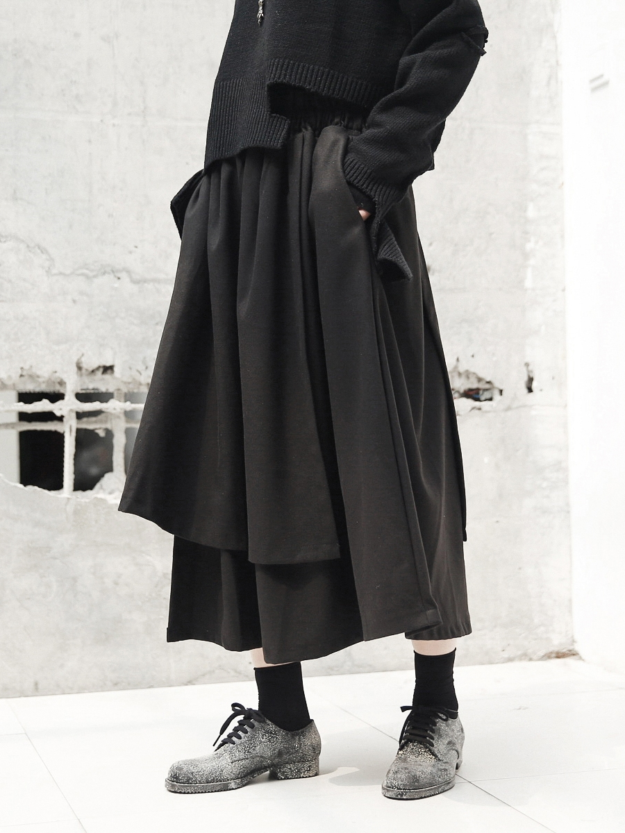 1c0e8fed8c280 US $43.07 |Cakucool Autumn Winter Asymmetric Designer Skirt Thicken Fleece  Japanese Black Goth Midi Long Skirts Novelty Boho skirt Maxi-in Skirts from  ...
