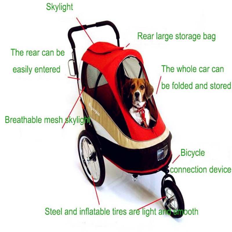 Happy Trailer Pet Stroller Load 30 Kg With 3 Big Inflatable Tires Can Be Connected To Bicycle Pet Strollers For Travel