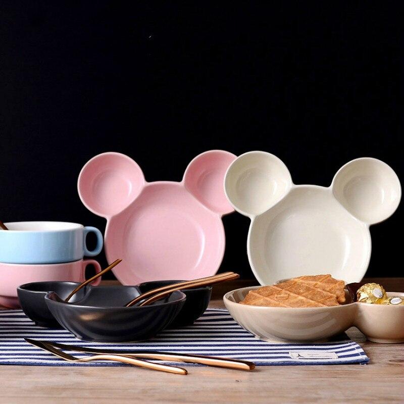 Piatti In Ceramica Per Bambini.Us 28 78 Ceramica Fumetto Creativo Mickey Piatto Vassoio Di Plastica Per Bambini Stoviglie Pranzo Incantevole Dishs Gnocchi Piatto In Ceramica