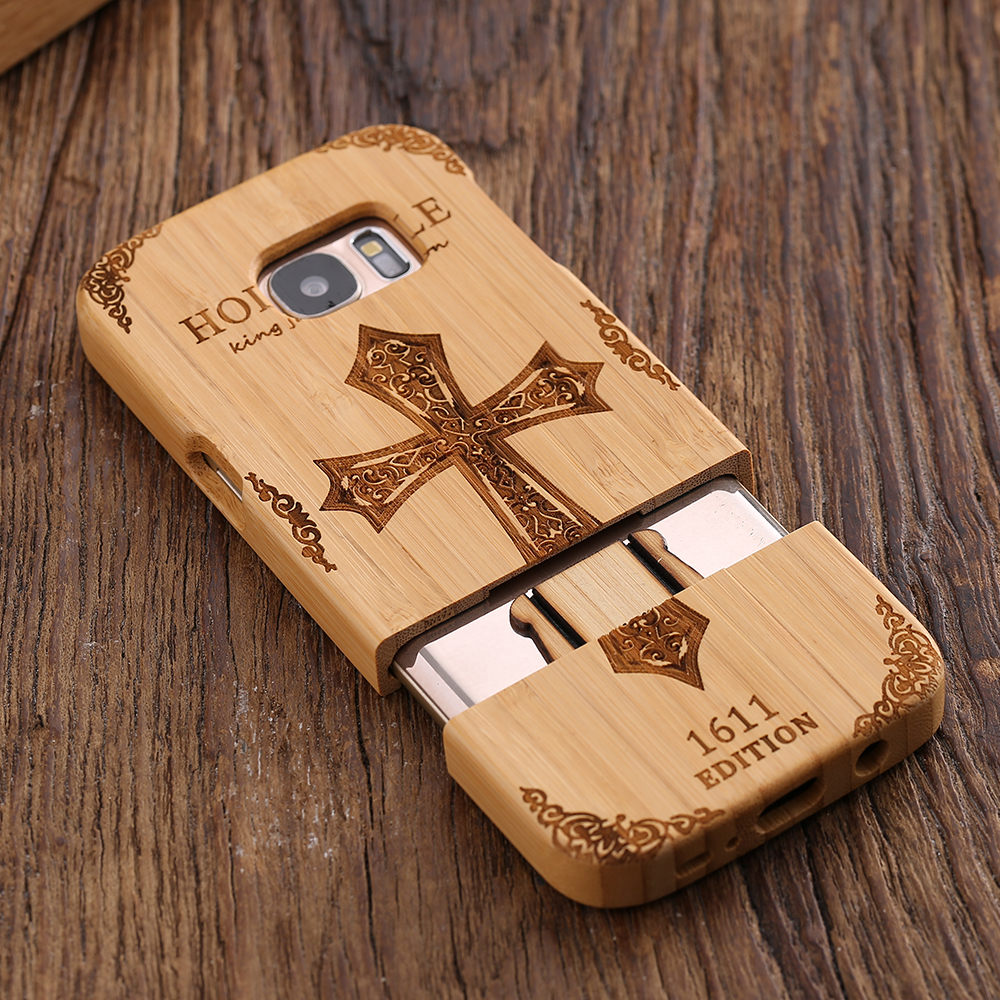 separation shoes dd968 0caa8 US $12.27 |KISSCASE Bamboo Wood Carving Case for Samsung Galaxy S7 S7 Edge  Cross Wolf Case Cover for S7 S7 Edge Geniune Wooden Phone Cases-in Fitted  ...