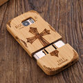 Retro Bamboo Wood Carving Case for Samsung Galaxy S7 S7 Edge Cross Wolf Case Cover for S7 S7 Edge Geniune Wooden Phone Cases