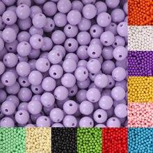 Разноцветные Пластиковые акриловые бусины 100 шт./лот 8 мм, круглые свободные бусины-разделители для изготовления ювелирных изделий, браслет...